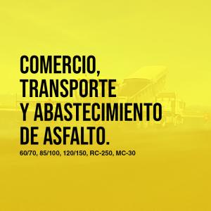 Comercio, transporte y abastecimiento de asfalto 60/70, 85/100, 120/150, RC-250, MC-30; puesto en obra   Asfaltoperú